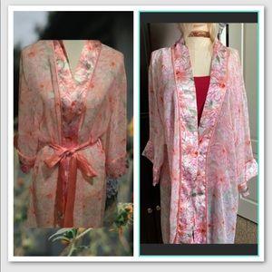 Delicates Pink Floral Sheer Satin Robe Kimono XL